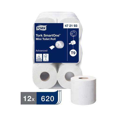 Tork SmartOne®  Mini 2 Ply Toilet Roll 620 Sheets White