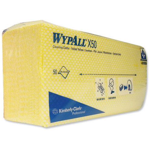 Kimberly Clark Wypall X50 Colour Coded Cleaning Cloth 1Ply Yellow