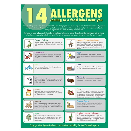 Food Allergen  Guide For Staff (Sticker) A3