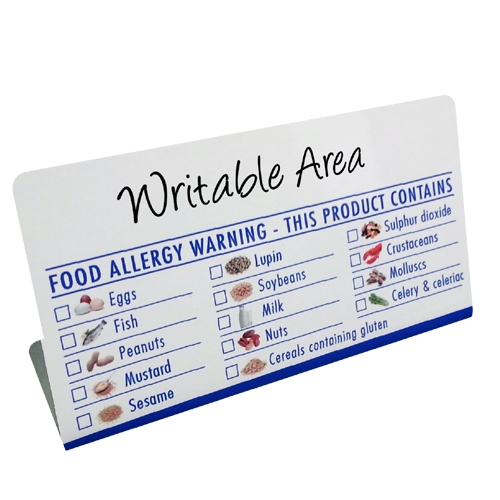Food Allergen Buffet Notice (Wipe Clean) 125x65x45mm