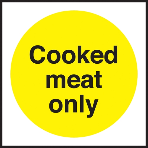 Cooked Meat Only Self Adhesive Sign 100 x 100mm Yellow