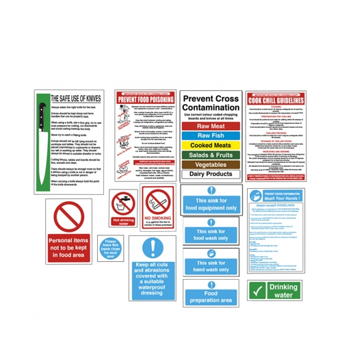 Food Preparation Area Catering Signs Pack Pack of 15 Printed