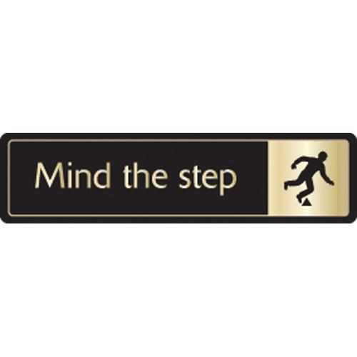 Mileta Mind The Step Symbol Self Adhesive Sign 43 x 178mm Black/Gold
