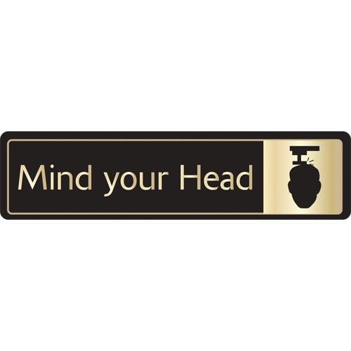 Mileta Mind Your Head Self Adhesive Sign 43 x 178mm Gold/Black