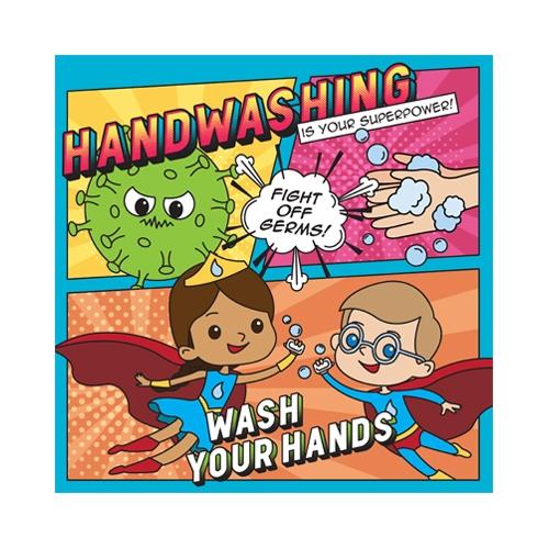 Semi Rigid PVC Hand Wash School Sign 21x21cm