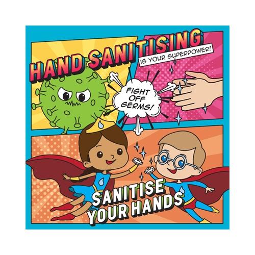 S/A Vinyl Hand Sanitiser School Sign 21x21cm