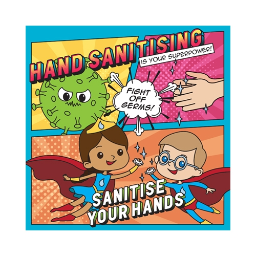 Semi Rigid PVC Hand Sanitiser School Sign 21x21cm