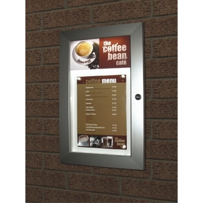 Mileta Satin Illuminated Lockable Menu Cass A4  Silver