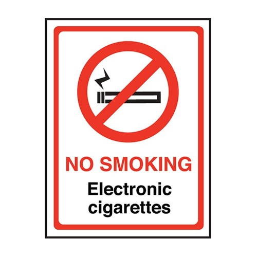 Mileta No Smoking Electronic Cigarettes  Self Adhesive Sign 200 x 150mm Printed