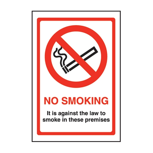 Mileta No Smoking Against the Law Sign Self Adhesive Sign 150 x 200mm  Printed