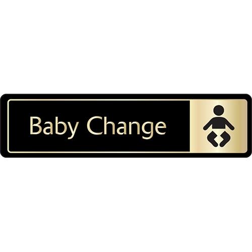 Mileta Baby Changing Symbol Self Adhesive Sign 43 x 178mm Black/Gold