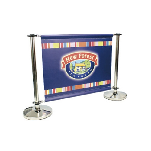 Mileta Printed PVC Banner Barrier System 1550mm Stainless Steel