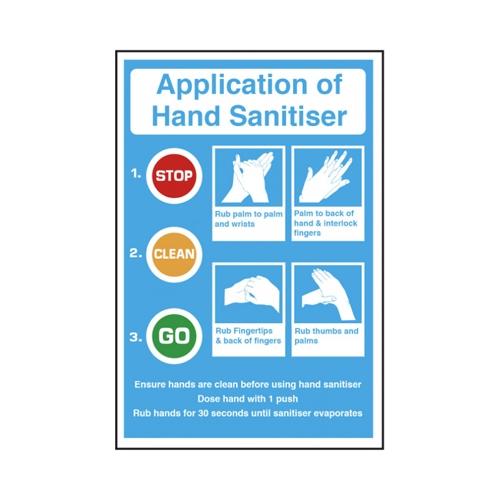 Mileta 'Application Of Hand Sanitiser' Self Adhesive Sticker A4 Blue