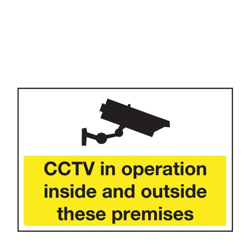 Mileta CCTV In Operation Inside/Outside Premises Exterior Sign 400 x 300mm Yellow