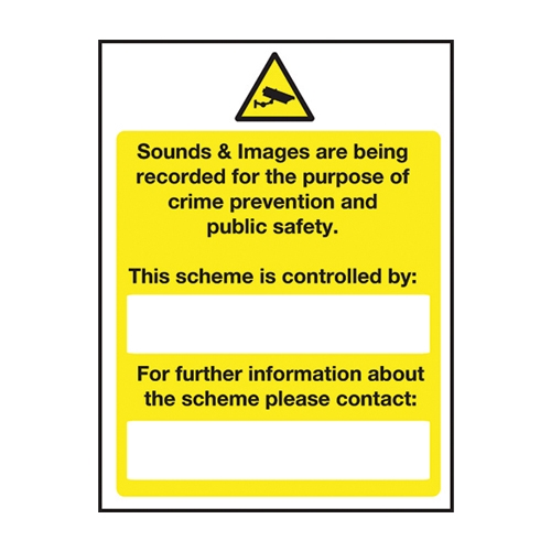 Mileta Sound and Images Are Being Recorded  Rigid Sign 400 x 300mm Yellow