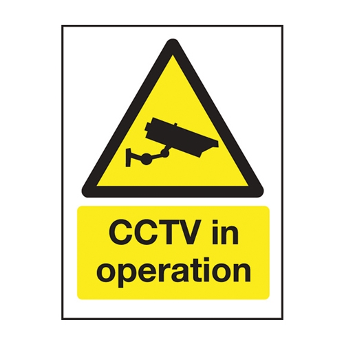 Mileta CCTV In Operation  Self Adhesive Sign 200 x 150mm Yellow