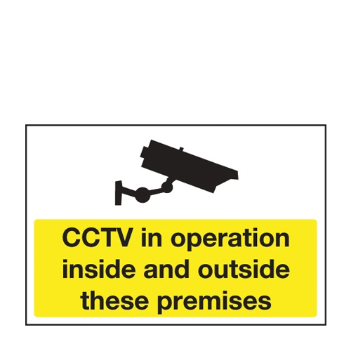 Mileta CCTV In Opertation Inside/Outside  Self Adhesive Sign 200 x 300mm Yellow