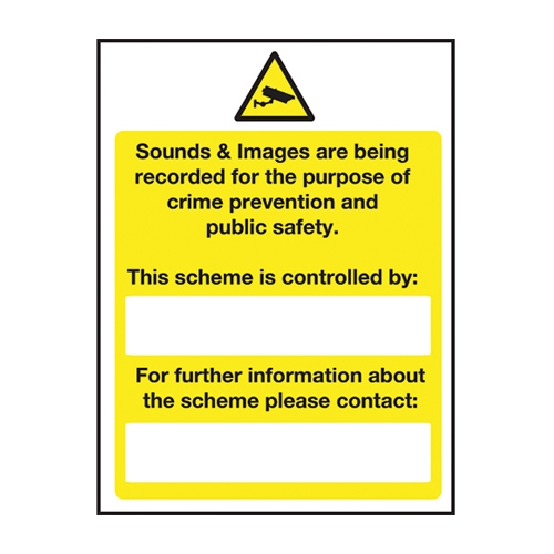 Mileta Sound & Images Are Being Recorded  Self Adhesive Sign 200 x 300mm Yellow