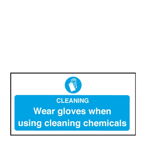 Mileta Wear Gloves Using Chemicals Self Adhesive Sign 100 x 200mm Blue