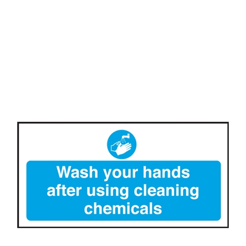 Mileta Wash Hands After Using Chemicals  Self Adhesive Sign 100 x 200mm Blue