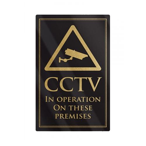 Mileta Rigid S/A CCTV In Operation On These Premises 260x170mm Black/Gold