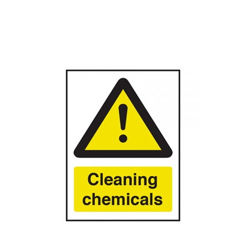 Mileta Warning Cleaning Chemicals Self Adhesive Sign 20.0cm x 15.0cm Yellow