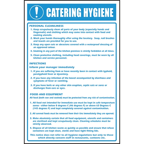 Catering Hygiene Notice  Self Adhesive Sign 300 x 200mm Printed
