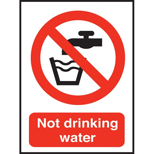 Not Drinking Water  Self Adhesive Sign 100 x 150mm Red