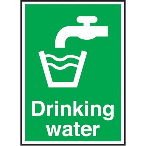 Drinking Water  Self Adhesive Sign 100 x150mm Green