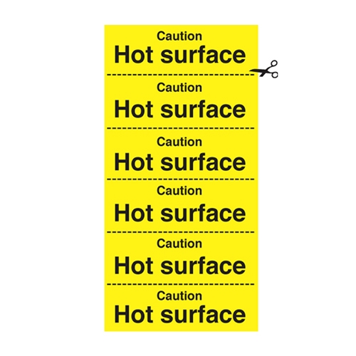Caution  Hot Surface Sign 200 x 100mm Yellow