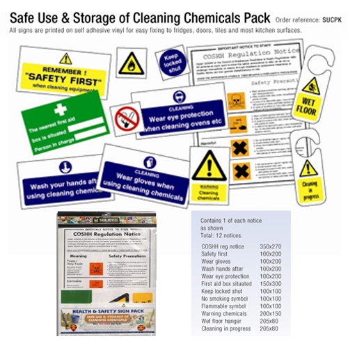 Chemical Storage & Safety Signs (12) Pack