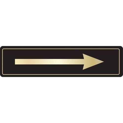 Mileta Direction Arrow Symbol Self Adhesive Sign 43 x 178mm Black/Gold