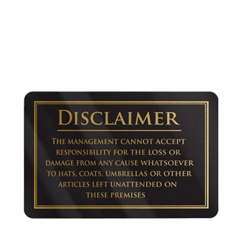Mileta Rigid S/A Disclaimer Notice Sign 110 x 170mm Gold/Black