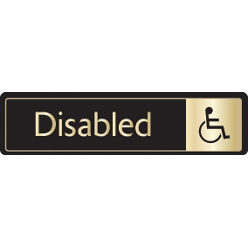 Mileta Disabled Toilet  Self Adhesive Sign 43 x 178mm Black/Gold