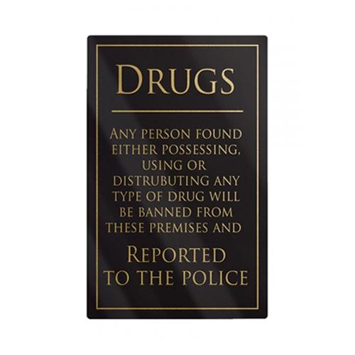 Mileta Rigid S/A Drugs Policy Notice Sign 260x170mm Black/Gold