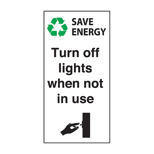 Mileta Turn Off Lights  Self Adhesive Sign 100 x 50mm x 150gsm White