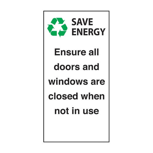 Mileta Ensure Windows/Doors Are Closed  Self Adhesive Sign 100 x 50mm White
