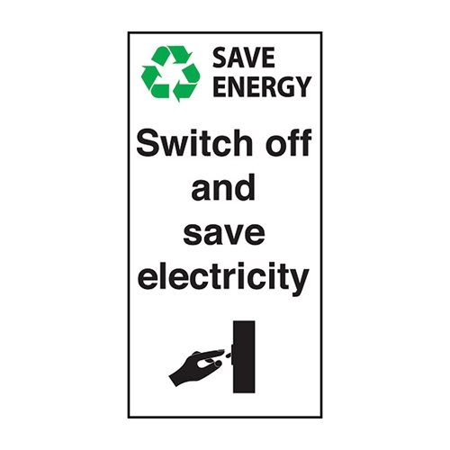 Mileta Switch Off Save Electricity  Self Adhesive Sign 100 x 50mm White