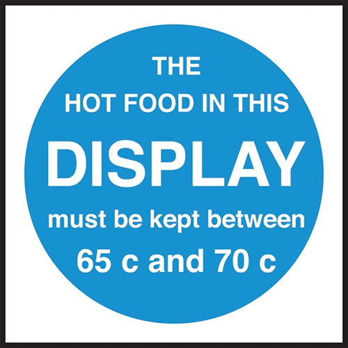 Hot Food Temp Display Sign 100 x 100mm