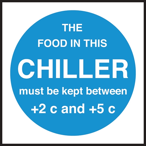 Chiller Temperature  Self Adhesive Sign 100 x 100mm Blue
