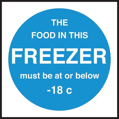 Freezer Temperature  Self Adhesive Sign 100x100mm Blue
