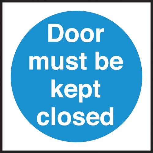 Door Must Be Kept Closed  Self Adhesive Sign 100 x 100mm Bue