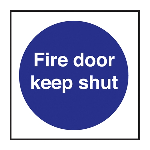 Mileta Fire Door Keep Shut Self Adhesive Sign 100 x 100mm Purple