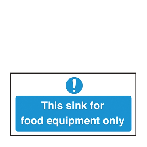 Sink For Food Equipment Only Self Adhesive Sign 100 x 200mm Blue