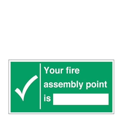 Mileta Fire Assembly Point Self Adhesive Sign 150 x 300mm Green