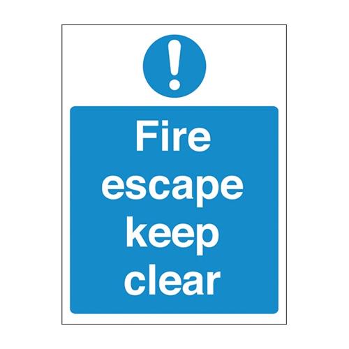 Mileta Fire Escape Keep Clear Sign (self adhesive) 200 x 150mm
