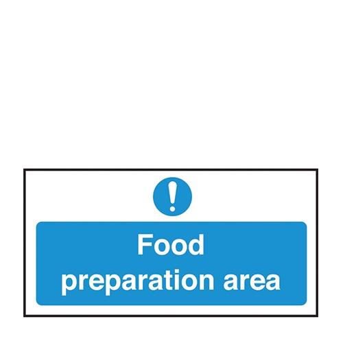 Food Preparation Area Self Adhesive Sign 100 x 200mm Blue
