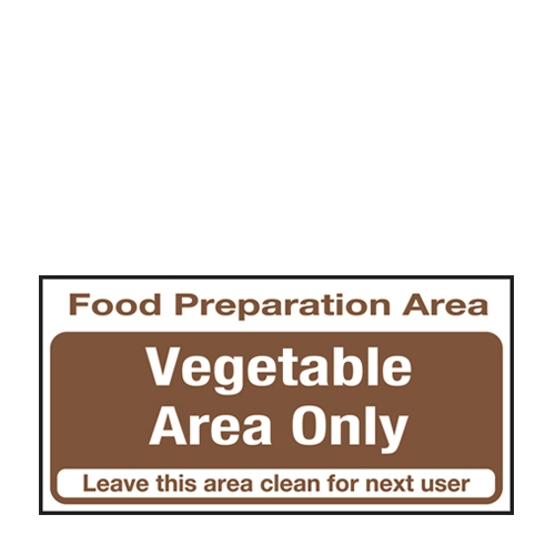 Vegetable Area Only  Self Adhesive Sign 100 x 200mm Brown