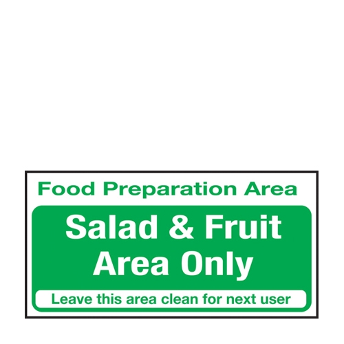 Salad & Fruit Area Only  Self Adhesive Sign 100 x 200mm Green