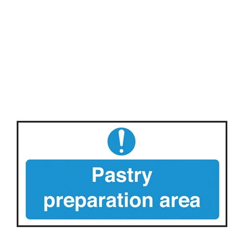Pastry Preperation Area Only Self Adhesive Sign 100 x 200mm Blue